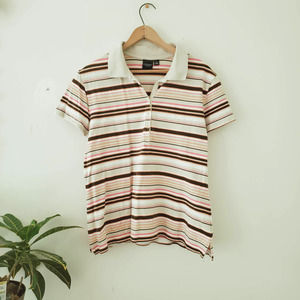 Sonoma Pink Brown Striped Polo Shirt
